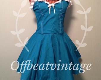 Womens Teal and White Ruffle Dress Vintage Inspired Full Skirt Bustier Bodice size Medium
