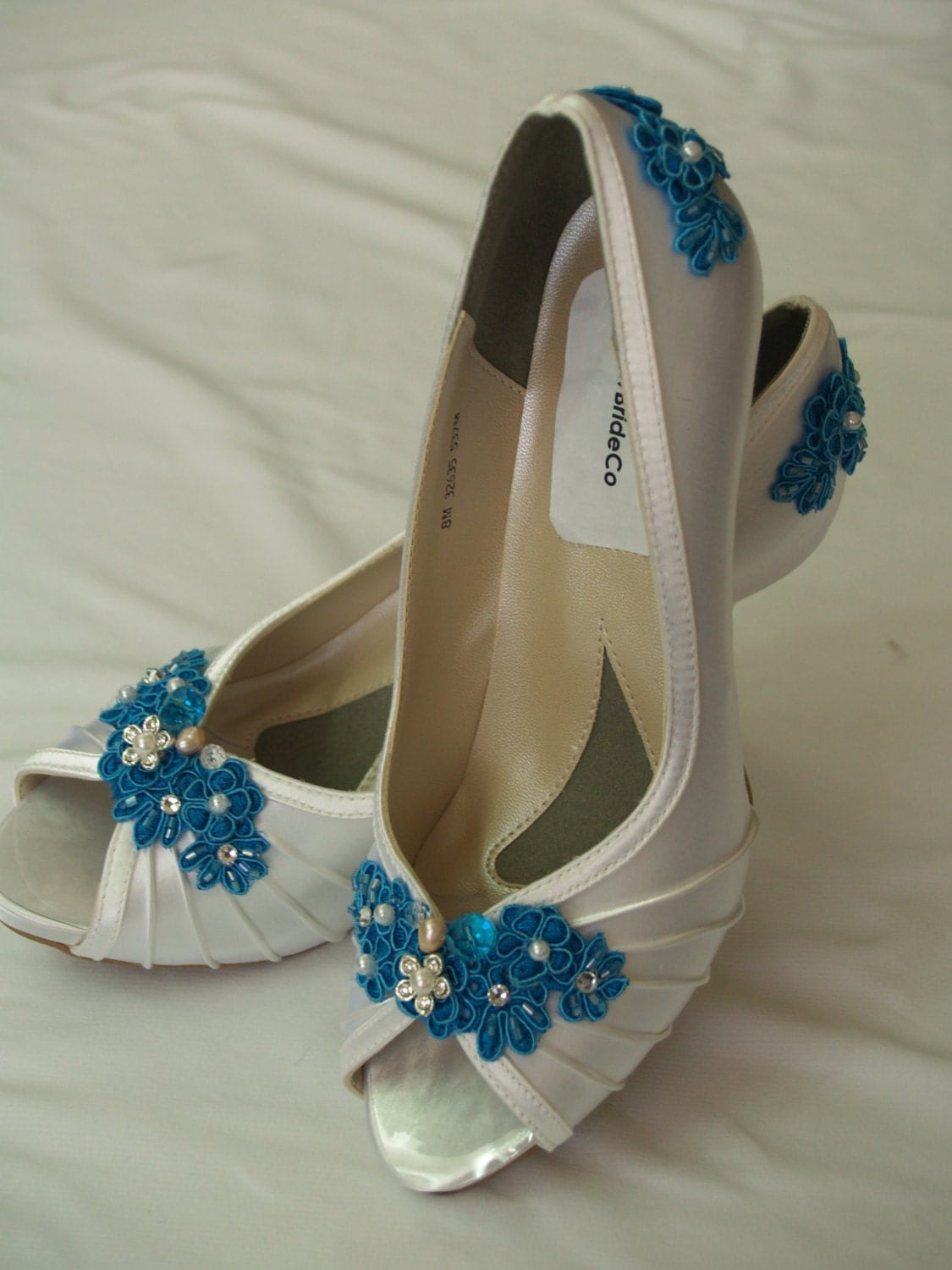 Brides Shoes Turquoise Blue Lace Applique Wedding By NewBrideCo