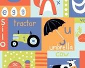 Apple Barn Cow (Tractor/ABCs Cheater Panel) - Free Range - Monaluna Fabrics - Organic Cotton - 1/2 Yard