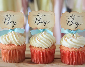 It's a Boy, Baby shower, Cupcake toppers, Light blue, Cupcake favors, 12 cupcake toppers per set