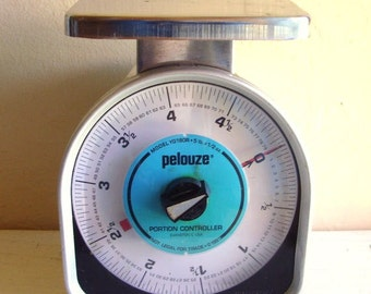 Industrial Chic Kitchen Scale Silver with Turquoise Blue Pelouze