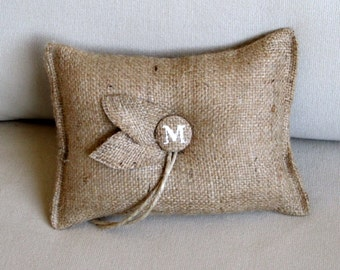 leafwork Custom Initial natural Burlap ring bearer pillow with
