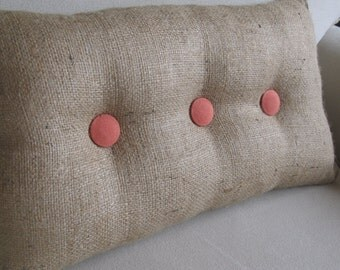 lumbar style 11x19 Burlap Pillow with coral organic cotton duck buttons