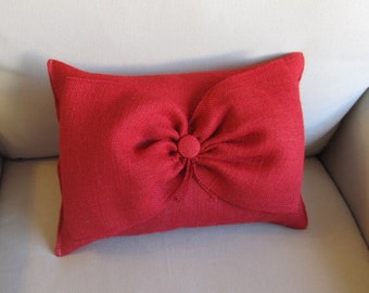 RED Burlap Accent Pillow with giant burlap bow