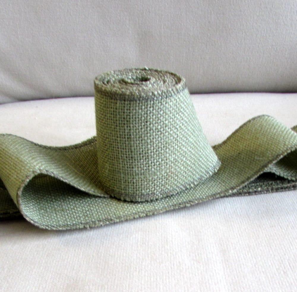 Green burlap 4 inch ribbon 5 yard piece for Green burlap ribbon
