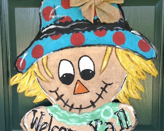 Burlap Scarecrow/burlap/scarecrow/fall decor/welcome ya'll/welcome fall