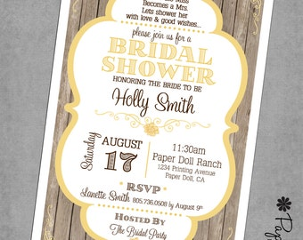 Bridal Shower Invitations - Rustic Wood Scallop Frame - Yellow - Wood - Floral - Printed Invitations