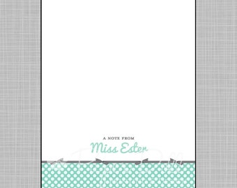 Polka Dots with Ribbon Notepads - Aqua and Grey - Personalized Notepads - 5x7 Notepads - Design: Ester