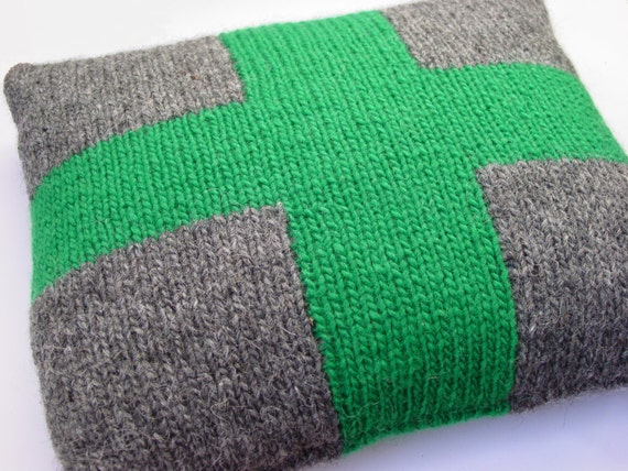 Cushion, Pillow, Hand Knitted, Cross, Emerald, Wool, Tweed, UK Seller, Grey, Green, Oblong