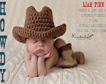 Digital Baby Birth Announcement, Custom Birth Announcement, Girl's Birth Announcement Boy's Birth Announcement Cowboy/Cowgirl
