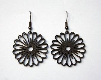 Wood earrings laser cut daisy earrings floral flower earrings black