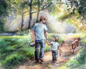 "Fishing, Landscape original pastel painting ""Fishing With My Dad""  Father and Son, Laurie Shanholtzer"