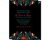 Cinco de Mayo Fiesta Invitations, Mexican Themed Invitation, Printed or Printable