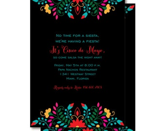 Cinco de Mayo Fiesta Invitations, Mexican Themed Invitation, Printed or Printable