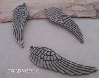 12pcs of antique Bronze Double sided wings Charms pendant 15mmx49mm