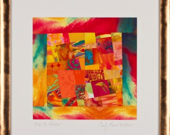 Fine Art Framed Art Quilt in Orange Yellow Turquoise Fuschia//Over the Rainbow