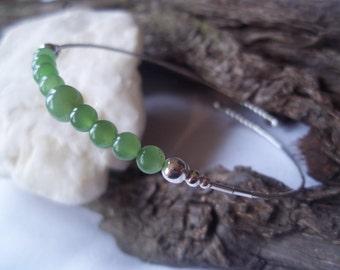 Jade & sterling silver bangle