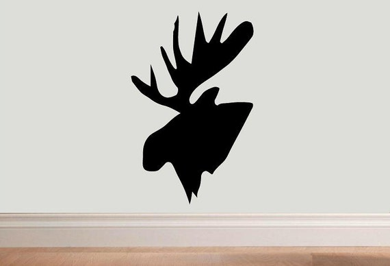 Items similar to vinyl wall decal Moose head silhouette ...