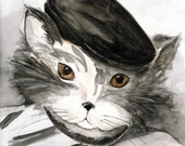 Cat Painting Note Cards, PiCatSo wearing a Black French Beret, Black and White