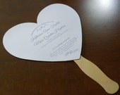 Custom Listing - Heart shaped wedding program fan