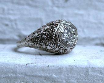 Vintage Filigree 14K White Gold Diamond Engagement Ring - 0.50ct