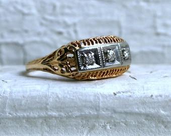 Ornate Vintage 10K Yellow Gold Diamond Three Stone Engagement Ring.