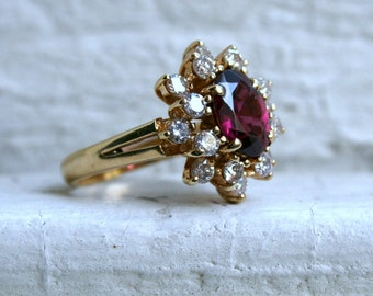 Vintage 14K Yellow Gold Diamond and Pink Tourmaline Cluster Engagement Ring - 3.90ct.