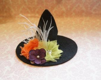 Mini witch hat- orange,lime green and purple/ halloween headband/ halloween hat