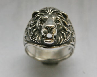 Lion head ring, Lion ring for man, Ring for man, Animals ring, Bikers ring, Silver ring for man, Lion ring, Jangle ring.