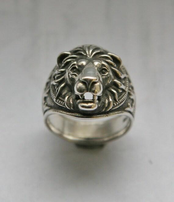 Lion head ring, Lion ring for man, Ring for man, Animals ring, Bikers ring, Silver ring for man, Lion ring, Jangle ring.