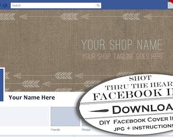 DIY Facebook Timeline Cover Image - Customizable Premade Arrows Facebook Like Page Header - Profile Cover Native American Modern Design
