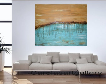 "40""  Original Large Abstract  Landscape Painting  Acrylic Painting Modern Art  Handmade by Carola, 40""x32"""