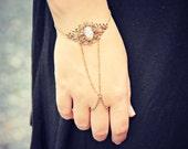 pink opal ornate filigree slave bracelet, opal hand chain, ring bracelet, slave ring, unique bracelet, opal ring
