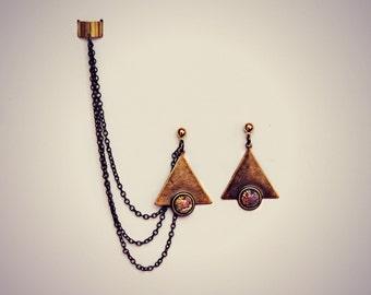 triangle ear cuff opal earrings, chains ear cuff, geometric ear cuff, ear cuff with chains, opal earrings