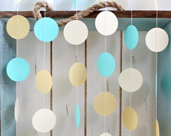 Aqua, yellow and White 12 ft Circle Paper Garland- Wedding, Birthday, Bridal Shower, Baby Shower, Party Decorations