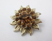Vintage Rhinestone Brooch Amber Goldtone Pin Costume Jewelry