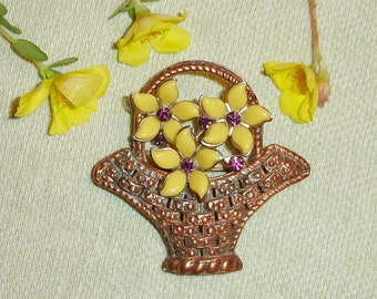 Yellow Flowers in Copper Basket Upcycled Brooch - OOAk