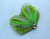 DREAM in Lime Green and Gray Peacock Feather Hair Clip, Feather Fascinator