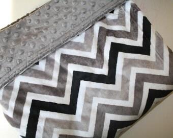 Baby Boy MINKY Blanket, Minky Baby Blanket, Boy Baby Blanket, Grey White Black Chevron Baby Blanket,Zigzag Blanket,Personalized Baby Blanket