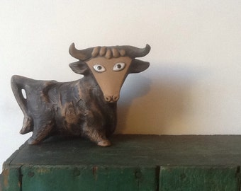 Bull TAURUS Mod Danish Bull figurine Zodiac Statue COW Mid Century Decor