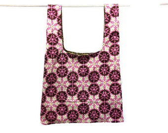 Eco friendly grocery bag - handmade, durable, washable - pink & brown circles