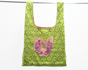 handmade fabric grocery bag  - green & yellow damask w/ cat pocket - eco friendly, washable, durable