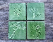 Green cow parsley ceramic tile, Handmade Queen Anne's lace botanical tiles, kitchen, bathroom MADE TO ORDER