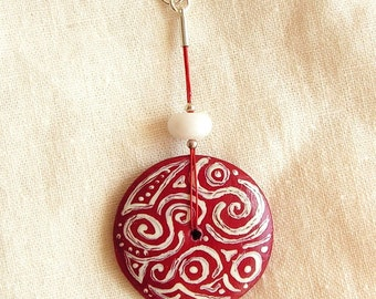 Hand painted carved wooden pendant agate red white silver circle stripes waves swirls jewelry