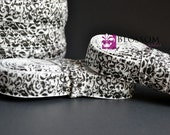 2 or 5 Yard Increments - Black & White Damask 5/8 Inch Printed Fold Over Elastic - foe - diy Baby Headbands And Emi Jay Hair Ties Wholesale