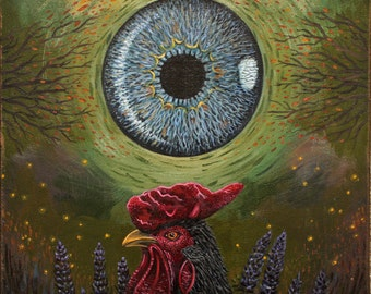 Gaze- the Rooster surreal acrylic painting on canvas Sale free shipping