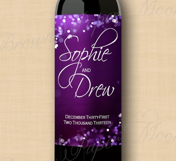Purple Night Sky Commemorative Wine Labels (3x6): Text-Editable, Printable, Instant Download