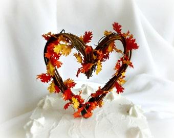 Fall Cake Topper, Vine & Leaves Wedding Decor