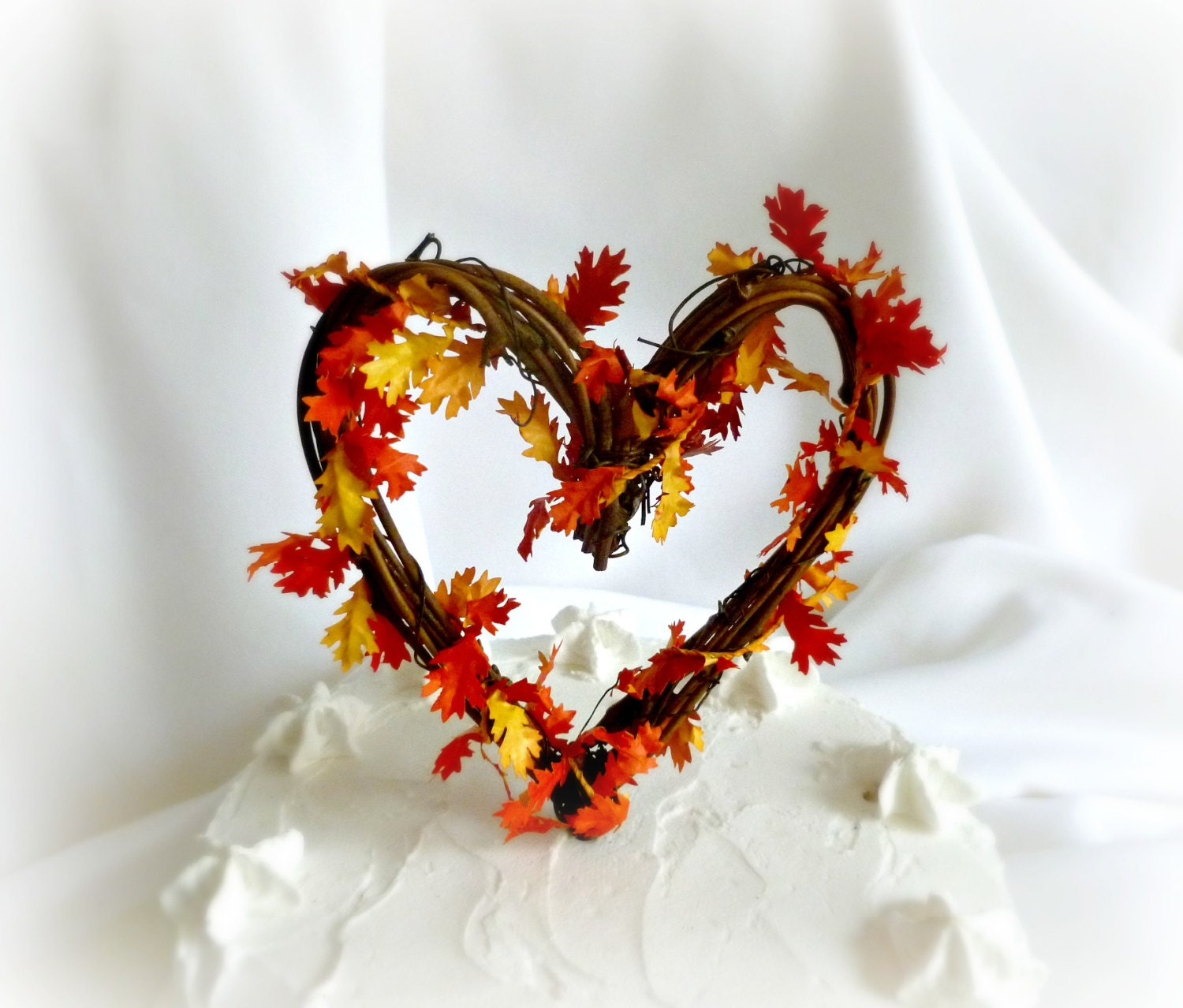 fall leaf wedding cake topper fall cake topper vine amp leaves wedding decor 14147