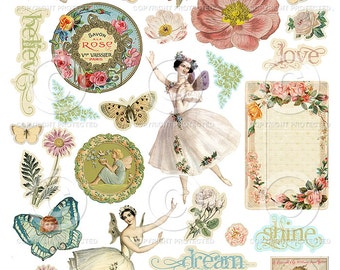Printable Sheets of Fairy Belle Elements - 2 Digital Collage Sheets as an instant Download File
